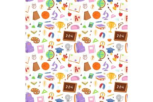 School icons seamless pattern background vector.