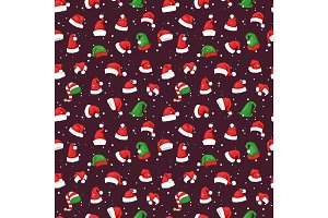 Santa christmas hat vector illustration seamless pattern