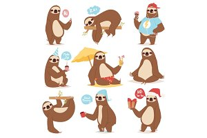 Laziness sloth animal character different pose like human cute lazy cartoon kawaii and slow down wild jungle mammal flat design vector illustration.