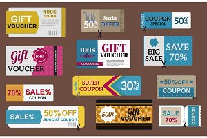 Sale coupon card percent discount symbol vector illustration.