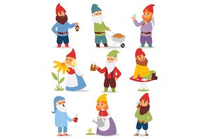 Gnome garden set funny little character cute fairy tale dwarf man in cap and cartoon holiday old leprechaun gardening male vector illustration.