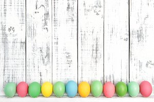 Easter background Colored eggs
