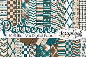 TEAL & BROWN GLITTER MIX PAPERS