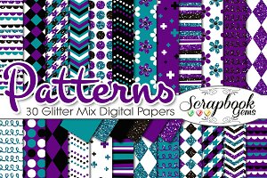 PURPLE & TEAL GLITTER MIX PAPERS