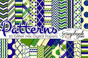 GREEN & BLUE GLITTER MIX PAPERS