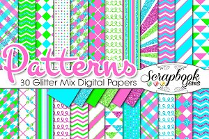 NEON COLORS GLITTER MIX PAPERS