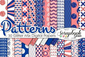 CORAL & BLUE GLITTER MIX PAPERS