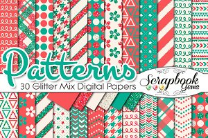 RED & GREEN GLITTER MIX PAPERS