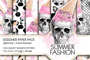 Skull Ice-Cream Summer Patterns
