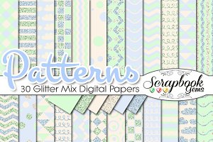 BABY BOY BLUE GLITTER MIX PAPERS