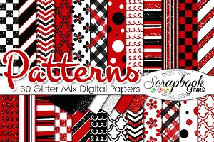 RED & BLACK GLITTER MIX PAPERS