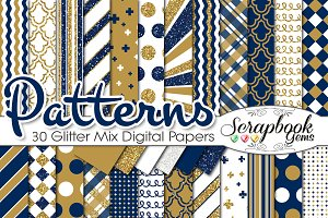 GOLD & NAVY BLUE GLITTER MIX PAPERS