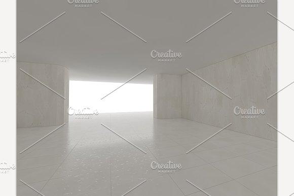 Empty White Room 3D Rendering