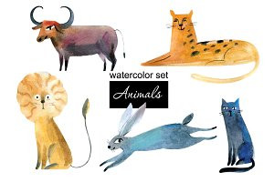 Animals. Watercolor Set