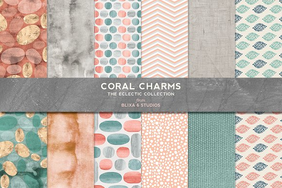 Coral Charms Watercolor Gold