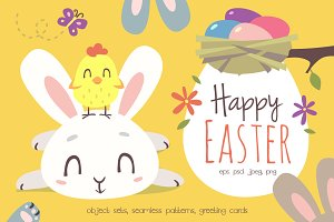 Happy Easter Cartoon Set