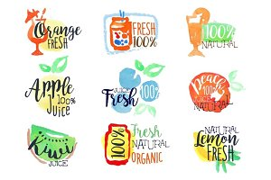Fresh Fruit Juice Promo Signs Colorful Set