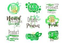 Healthy Bio Food Promo Signs Colorful Set
