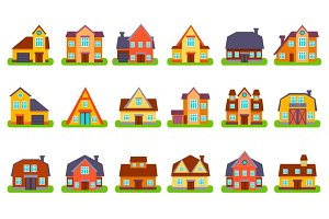 Suburban Real Estate Houses Set