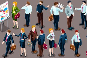Isometric People Staff Deal Icon 3D