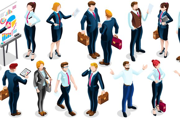 Isometric People Team Deal 3D Icon