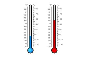 Celsius and Fahrenheit Thermometers Showing Hot or Cold Weather. Vector