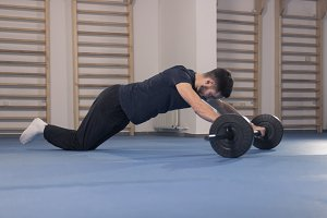 one man abs weight barbell rollout