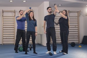 group people, coach fitness exercise