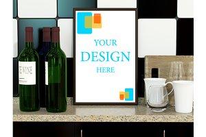 Kitchen interior with wine bottle