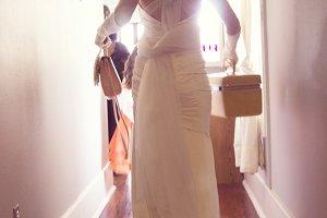 Bride walking down hall