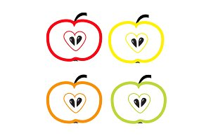 Set of color apples with heart shape
