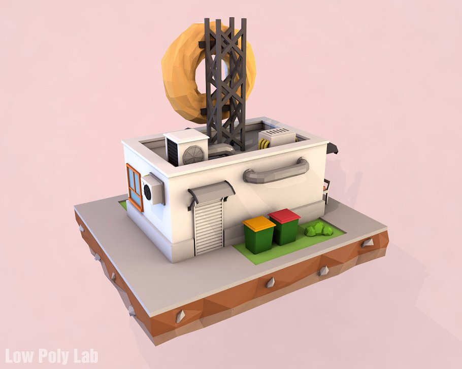 Cartoon Donut Cafe low poly 3D model