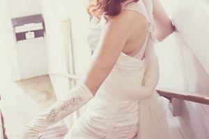 Movie Star Bride on Stairs