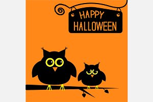 Happy Halloween card with cute owls