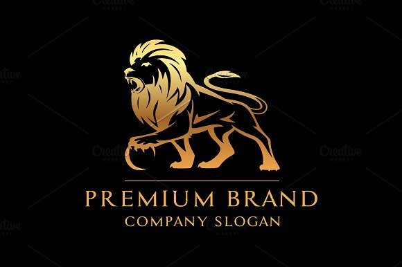 premium lion logo mock up vector logo templates creative market