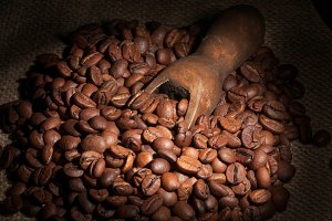 Coffee beans in a wooden scoop close-up as a background
