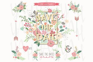 Save The Date Floral Frame Design