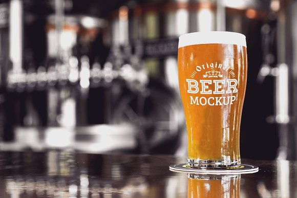 Free Beer Glass Mock-up#46
