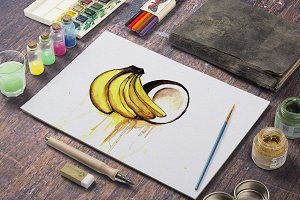 Watercolor banana and coconut