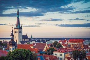 Tallinn at dusk, Estonia