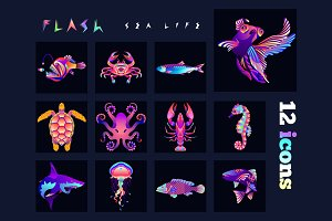 Fish multicolored icons