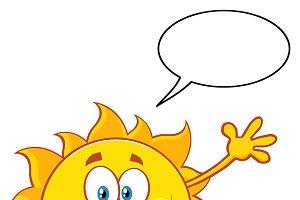 Happy Sun With Speech Bubble