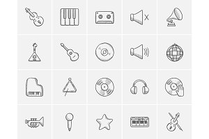 Media sketch icon set.