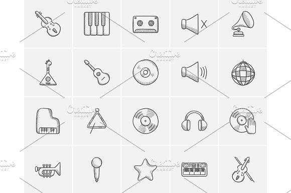 Media Sketch Icon Set