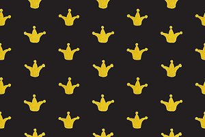 Golden gold crown seamless pattern