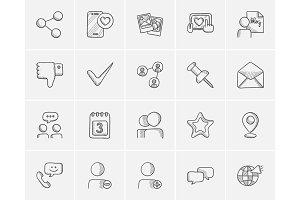 Media sketch icon set.