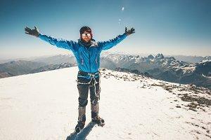 Happy Man on Elbrus mountain summit