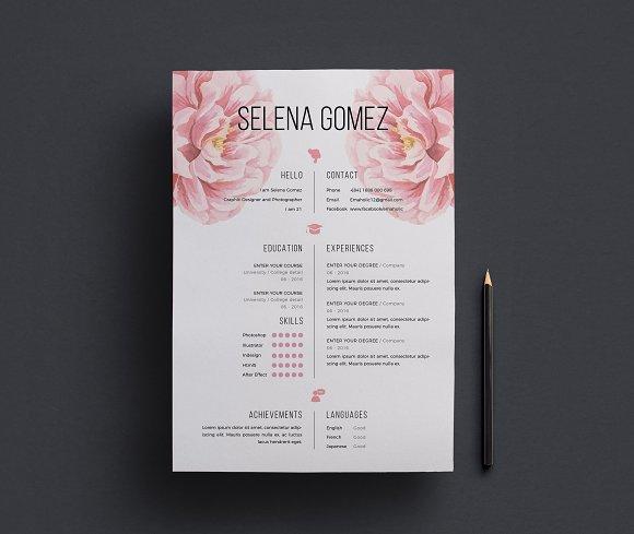 Elegant Floral CV Template Resume Templates Creative Market