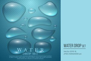 Realistic water drop set.