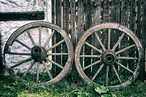 Old Wooden Cart Wheels